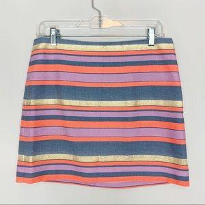 J Crew Striped Mini Skirt Size 4